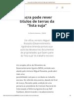 """2003_04_15_Incra Pode Rever Títulos de Terras Da """"Lista Suja"""" _ Repórter Brasil"""