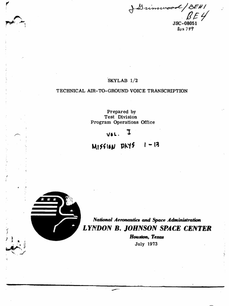 Skylab 1 2 Technical Air To Ground Voice Transcription Vol I Of Hunter Fan Wiring Harness 51006 Nasa