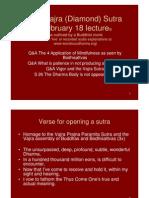 Vajra (Diamond) Sutra February 18, 2011 Lecture