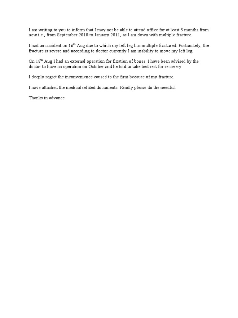 Accident leave letter altavistaventures Images