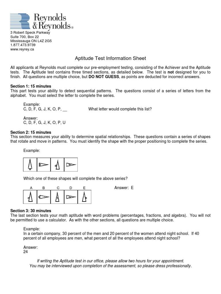 Test Sample Questions | Opción múltiple | Prueba (Evaluación)
