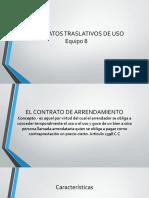 Contratos traslativos de uso - Arrendamiento