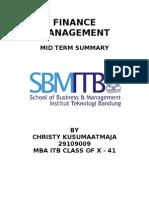 Finance Management Mid Term Summary