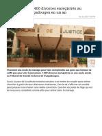 Burkina Faso _ 1400 divorces enregistrés au tribunal de Ouagadougou en un an