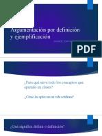Argumentación por definición y ejemplificación