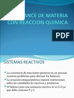 BALANCE DE MATERIA CON REACCION QUIMICA