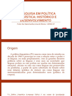A pesquisa em Política linguística