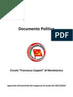 Documento Politico Circolo PRC Di Montelanico