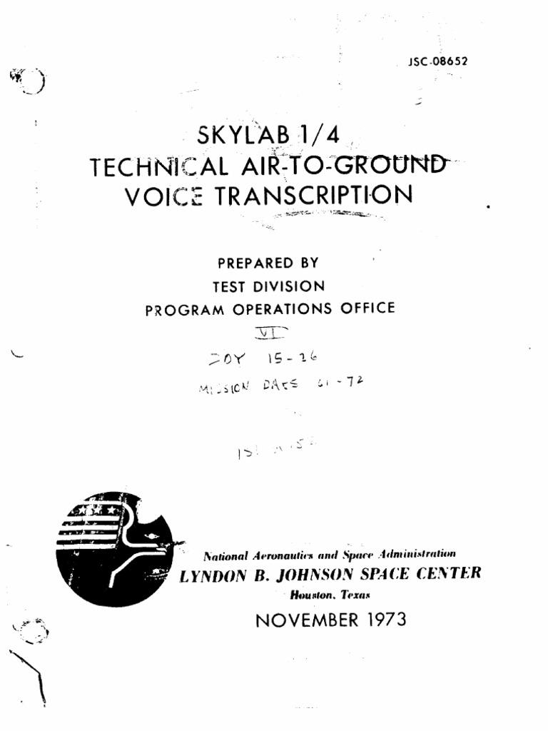 b9efaf47b4 Skylab 1 4 Technical Air-To-Ground Voice Transcription Vol 6 of 7 ...