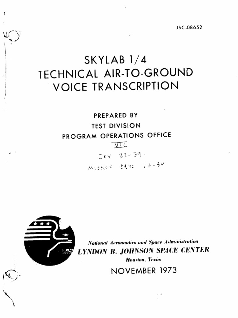 8e76808726abc9 Skylab 1 4 Technical Air-To-Ground Voice Transcription Vol 7 of 7 ...