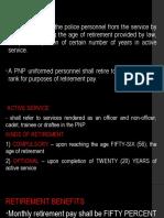 Retirement system in PNP