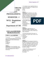 GE8151 Problem Solving and Python Programming MCQ