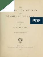 Die griechischen Münzen der Sammlung Warren. [Textband] / beschr. von Kurt Regling