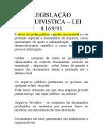 LEGISLAÇÃO ARQUIVISTICA