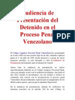 Audiencia de Presentación del Detenido en el Proceso Penal Venezolano