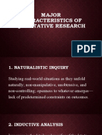2.1 Major Characteristics of Qualitative Research