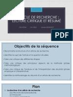 S4.3.4 CM  lecture critique et résumé d'article de recherche 2018-2019