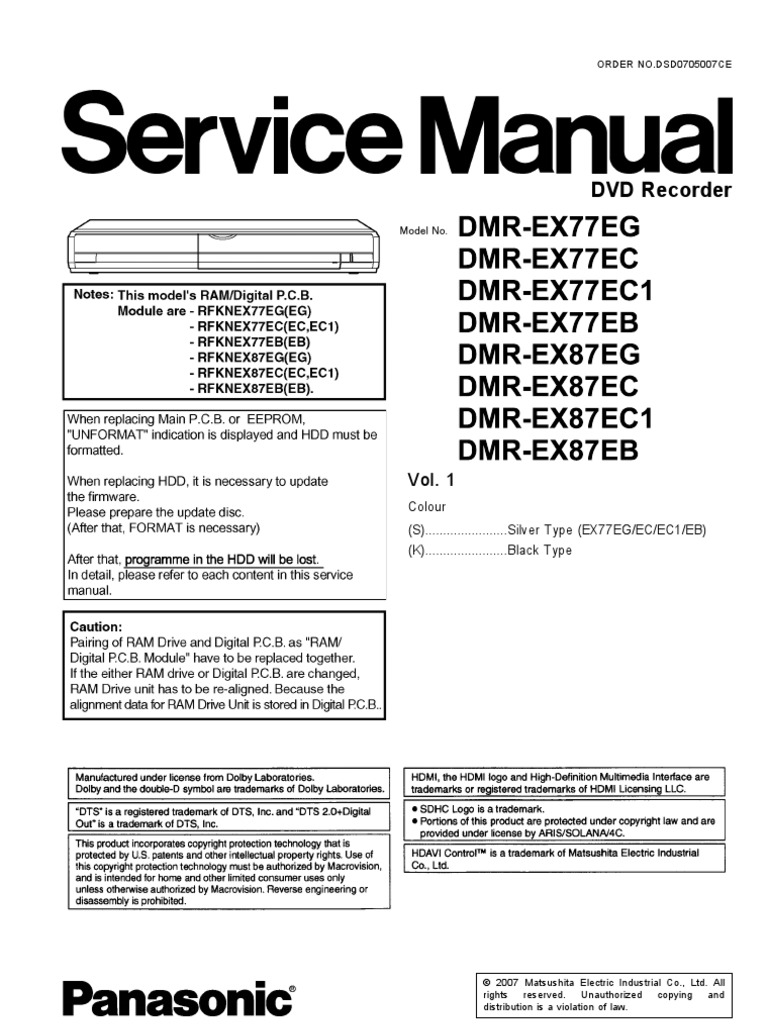 panasonic dmr ex77 ex87 service manual rh es scribd com panasonic dvd recorder dmr-ex77 manual panasonic dvd dmr-ex77 manual