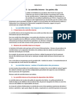 Chapitre 5 - Le Contrôle Interne - Les Points Clés