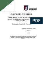 CARACTERIZACION DE PROCESOS DE MAQUINARIAS E INGENIERIA METAL MECANICA S.A.