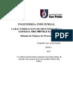 CARACTERIZACION DE PROCESOS DE LA EMPRESA O&C METALS S.A.C