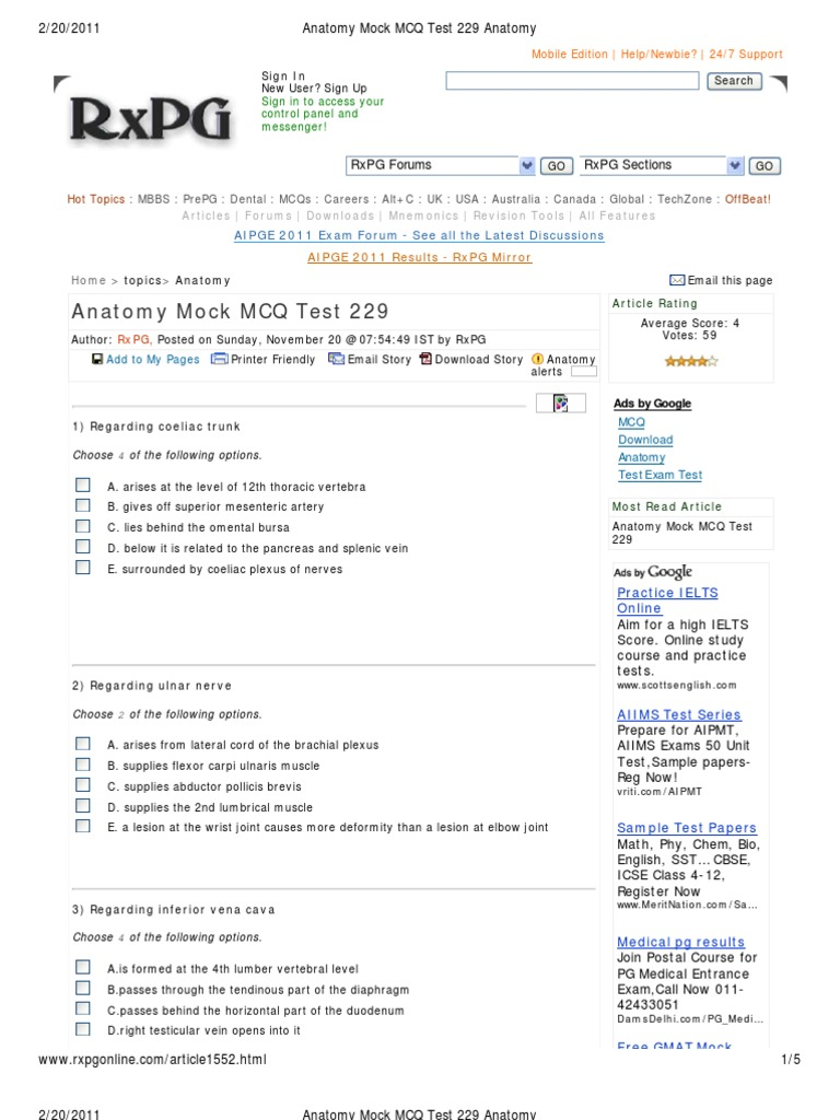 Anatomy Mock MCQ Test 229 Anatomy | Musculoskeletal System | Human ...