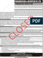 Advertisement for the Position of Managing Director NTDC