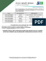 CALENDÁRIO AC2 4º ETAPA 3º AO 5º