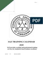 Saz Training Calendar 2020