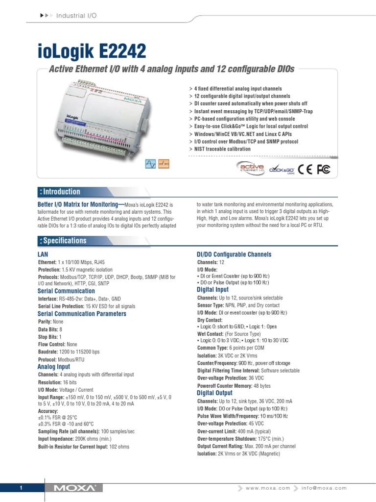 ioLogik_E2242   Input/Output   Transmission Control Protocol