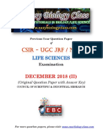 CSIR NET Life Sciences Dec 2018 Question Paper and Answer Key