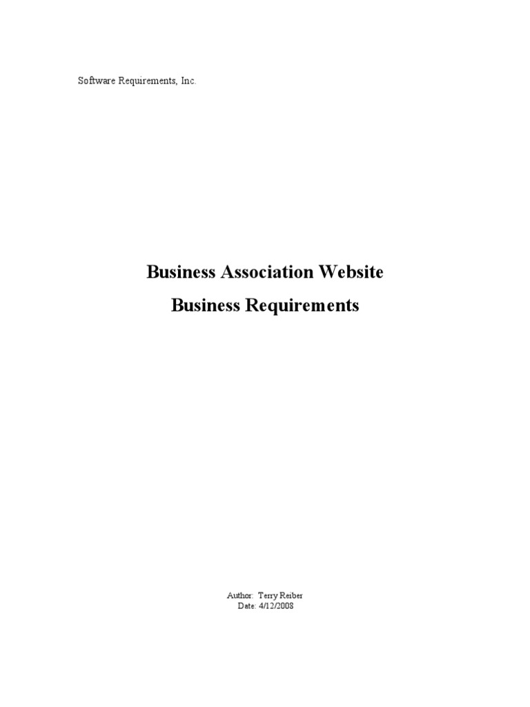 Business Requirements Example Websites Email