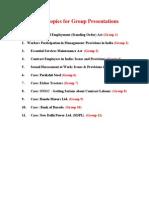 Copy of List of Topics for presentations II