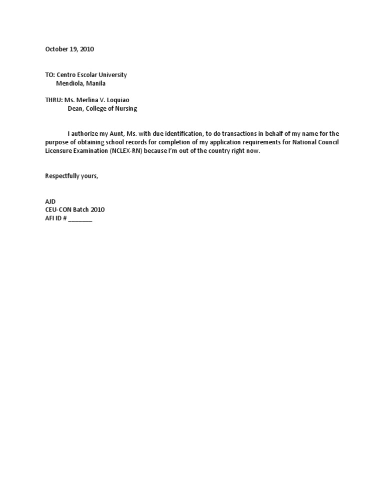 AUTHORIZATION LETTER – Authorization Letter