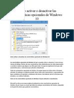 Características Opcionales de Windows 10