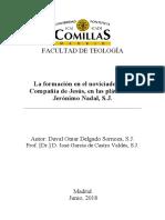 La Formación en El Noviciado de La Compañía de Jesús, En Las Pláticas de Jerónimo Nadal, S.J.