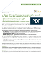 CDG prend des mesures exceptionnelles au profit DES PME ET DES ASS DE MICROcrédit