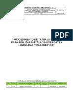 pts - Iinstalacion de postes, luminarias y pararrayos