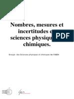Nombres, mesures et incertitudes en sciences physiques et chimiques. Groupe des Sciences physiques et chimiques de l IGEN