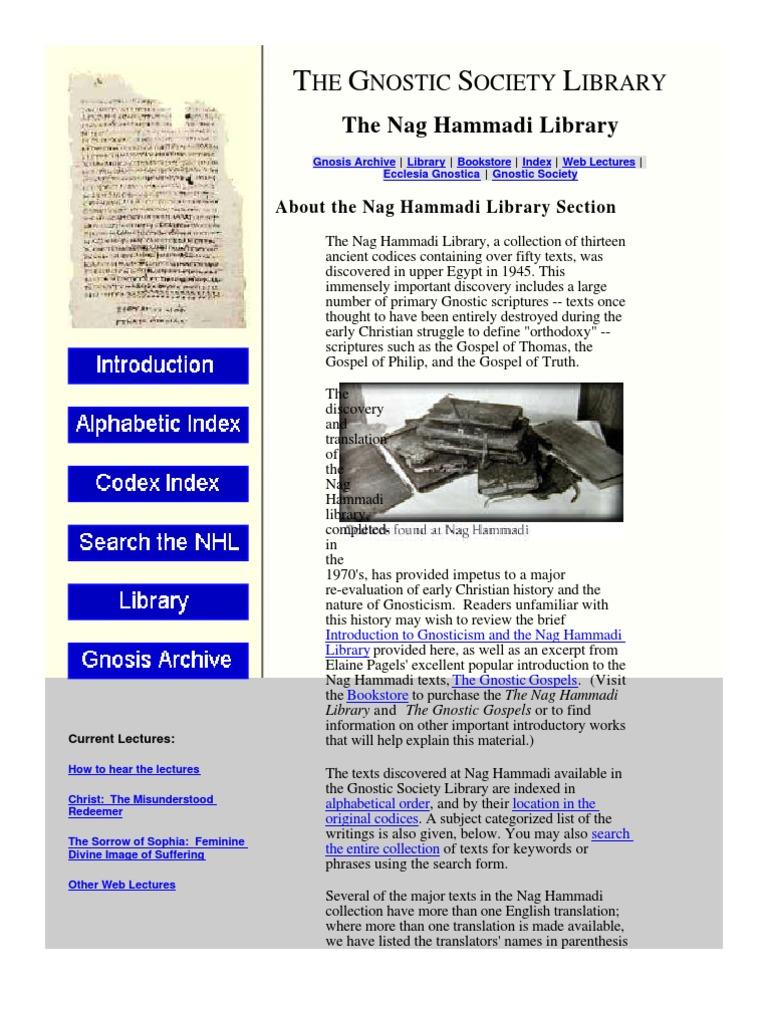 Nag Hammadi Library   Gnosticism   Gospel Of Thomas