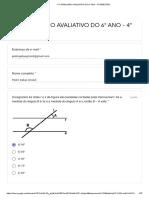 1° FORMULÁRIO AVALIATIVO DO 6° ANO - 4° BIMESTRE - Formulários Google