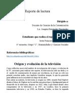 Reporte de Lectura Sobre El Origen y Evolución de La Televisión[1189]