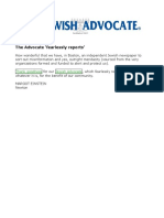 2014-01-10 - Jewish Advocate Letter - The Advocate Fearlessly Reports