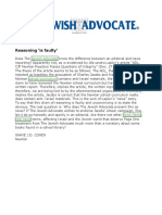 2014-01-10 - Jewish Advocate Letter - Reasoning is Faulty