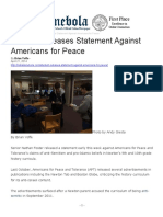 2014-04-21 - Denebola - NSHS Publication - Student Releases Statement Against Americans for Peace