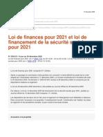 Analyse juridique de l'ANIL Loi de finances et de la secu pour 2021