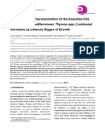 Phytochemical Characterization of the Essential Oils Obtained from Mediterranean Thymus spp. (Lamiacea) Harvested at Different Stages of Growth