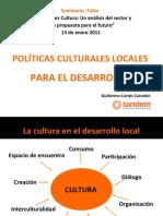POLÍTICAS CULTURALES LOCALES PARA EL DESARROLLO