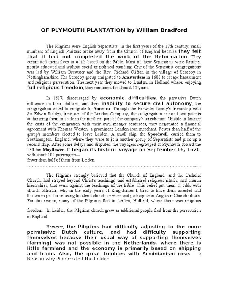 Of Plymouth Plantation By William Bradford Pilgrim Fathers