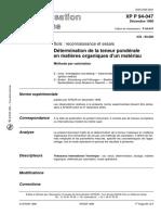 P94-047 teneur en matiere organique par calcination